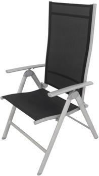 VILLANA Multipositionssessel silber/schwarz Aluminium/Textil schwarz (HT-C248.3 silber)