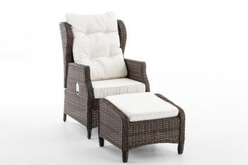 CLP Sessel Breno inkl. Fußhocker rund braunmeliert cremeweiß