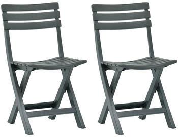 vidaXL Garden Chairs in Green Plastic (2 Pieces)