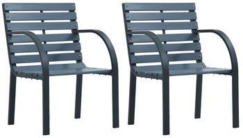 vidaXL Garden Chairs in Grey Wood (2 Pieces)