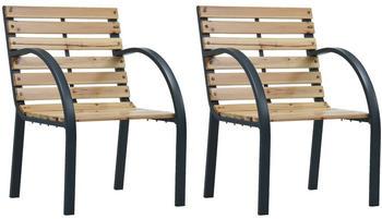 vidaXL Garden Chairs Wood/Grey (2 Pieces)