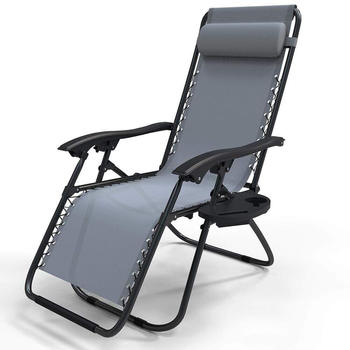 Vounot Lounger in Textilen With Cup and Phone Holder Grey