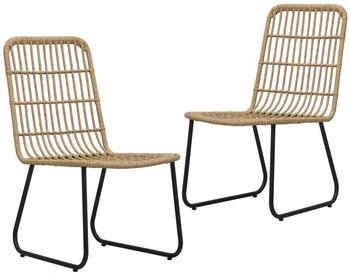 vidaXL Garden Chair Braided Resin 2 Pieces Oak