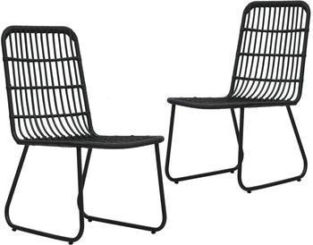 vidaXL Garden Chair Braided Resin 2 Pieces Black