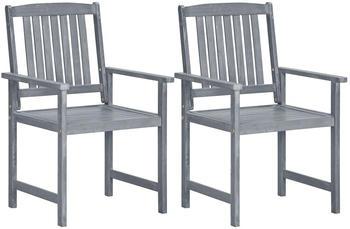 vidaXL Garden Chair Acacia Wood 2 Pieces Grey