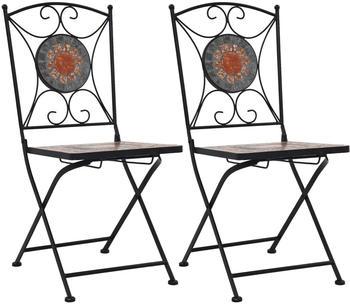 vidaXL Bistro Chair Mosaic 2 Pieces Orange/Grey