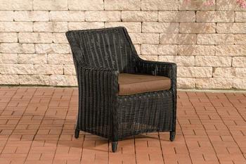 CLP 4er Set Sessel Sandnes rund schwarz Terrabraun