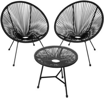 TecTake Gabriella 2 Gartenstühle mit Tisch schwarz (TT403307)