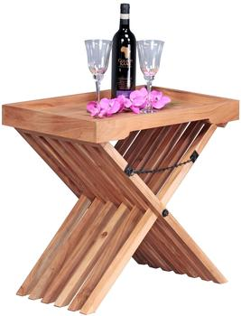 Wohnling Beistelltisch Massivholz Akazie Design Klapptisch Serviertablett und Tisch-Gestell klappbar
