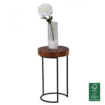 Wohnling Beistelltisch Massivholz Sheesham Wohnzimmer-Tisch Metallbeine Landhaus-Stil Baumstamm-For
