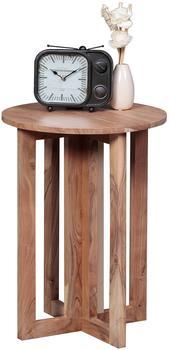 WOHNLING Wohnling Beistelltisch Massivholz Akazie Design Anstell-Tisch 45 x 45 cm rund Nachttisch Deko Echt-H