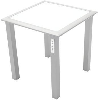Villana Beistelltisch, silber/weiß, Aluminium/Sicherheitsglas, 45 x 45 x 45 cm