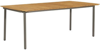 vidaXL Garden Table in Acacia And Steel 200 x 100 x 72 cm