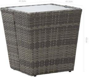 vidaXL Beistelltisch 41,5x41,5x43cm Poly Rattan/Hartglas grau