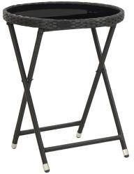 VidaXL vidaXL Beistelltisch 60cm Poly Rattan/Hartglas schwarz