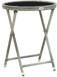 VidaXL vidaXL Beistelltisch 60cm Poly Rattan/Hartglas grau