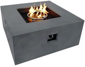 Outflexx Loungetisch 915x915x40cm mit Gas-Feuerstelle grau