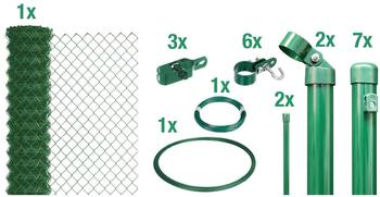 GAH-Alberts Maschendrahtzaun-Set zum Einbetonieren 15 m x 1,25 m grün