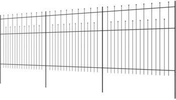 vidaXL Zaunelemente Gespitzt Stahl 600x175 cm schwarz (142802)
