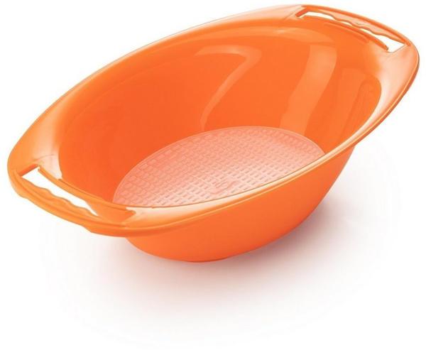 Börner Gemüsehobel Auffangschale oval mit Sieb - Zubehör für V5 PowerLine, orange