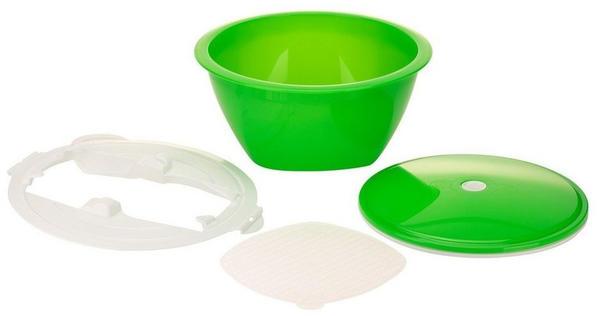 Börner Gemüsehobel Multimaker - getönt Schüssel mit Frischhaltedeckel, Sieb u. Multiplate, grün