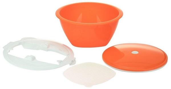 Börner Gemüsehobel Multimaker - getönt Schüssel mit Frischhaltedeckel, Sieb u. Multiplate, orange