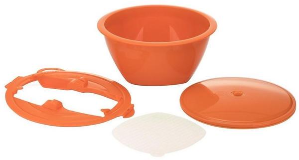 Börner Gemüsehobel Multimaker - vollfarbig Schüssel mit Frischhaltedeckel, Sieb u. Multiplate, orange