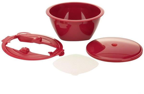 Börner Gemüsehobel Multimaker - vollfarbig Schüssel mit Frischhaltedeckel, Sieb u. Multiplate, rot