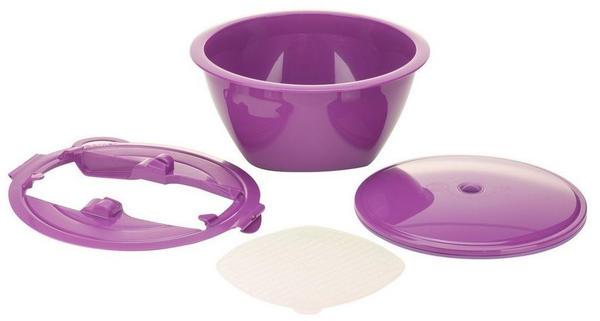 Börner Gemüsehobel Multimaker - vollfarbig Schüssel mit Frischhaltedeckel, Sieb u. Multiplate, violett