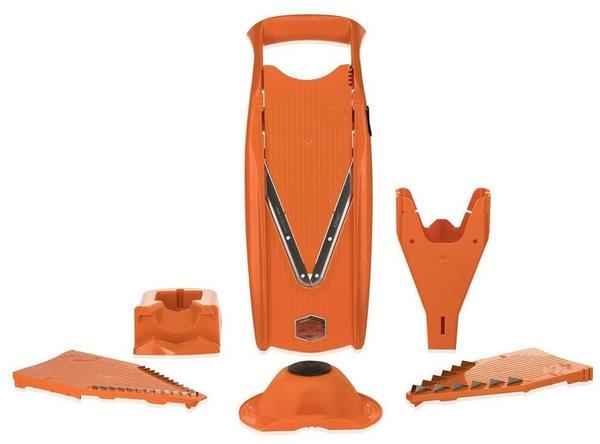Börner Gemüsehobel V5 PowerLine Profi Set mit 2 Messereinschüben und Dockingstation, orange