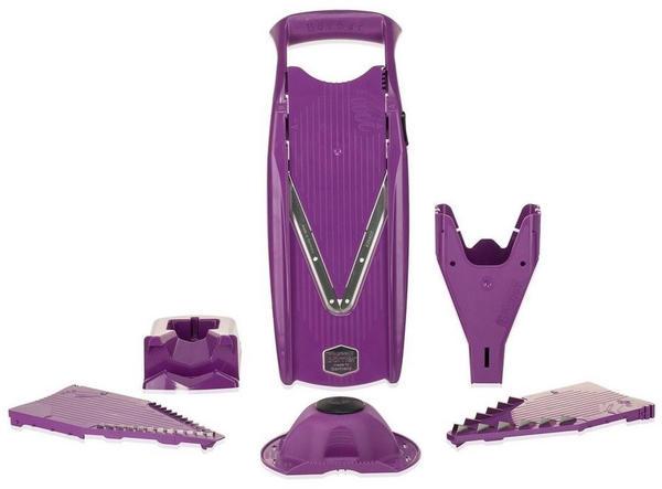 Börner Gemüsehobel V5 PowerLine Profi Set mit 2 Messereinschüben und Dockingstation, violett