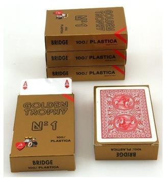 Ludomax Fünferpaket Golden Trophy No.1 rot von Modiano, 100 % plastic Spielkarten