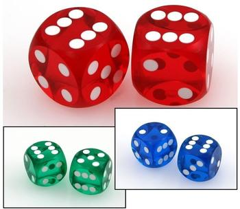 Ludomax Präzisionswürfel 9/16 BackgammonCasino Würfel, 2 Stück [Farbe: blau]