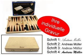 Ludomax Backgammon Kassette aus Holz, 33 x 21 x 4 cm mit Gravur, Geschenk - Idee