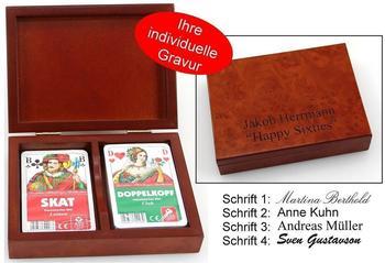 Ludomax Spielkartenkassette Skat - Doppelkopf, mit individuellem Druck, Geschenk Idee