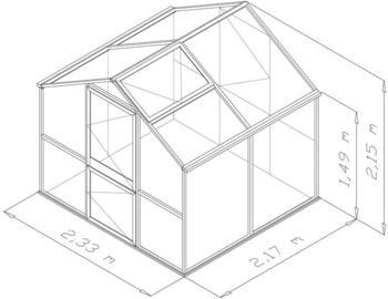 KGT Rose II Gewächshaus 5m² (10mm HKP, Alu silber)