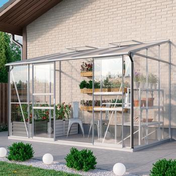 EPH Vitavia Anlehngewächshaus Osiris Tomatenhaus, 6500 ESG ca. 3 mm + HKP ca. 6 mm, 2,01x3,24x2,21 m,Alu