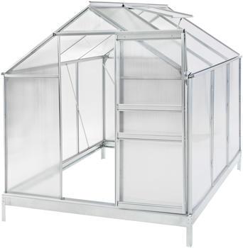 TecTake Gewächshaus 3,7 m² mit Fundament (4mm HKP, Alu blank)