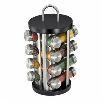 Küchenprofi Gewürzständer mit 16 Gewürzgläsern unbefüllt schwarz/Edelstahl
