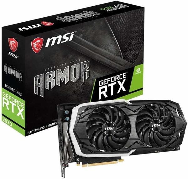 MSI GeForce RTX 2070 ARMOR 8G, Grafikkarte 3x DisplayPort, HDMI, USB-C