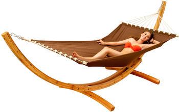 Amanka XXL-Hängematte mit Holzgestell braun