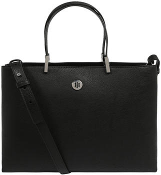 Tommy Hilfiger Monogram Plaque Satchel Bag (AW0AW07686) black