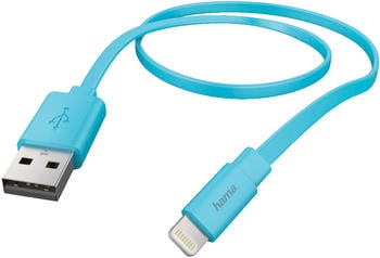 Hama Lightning Flat Datenkabel 1,2m blau