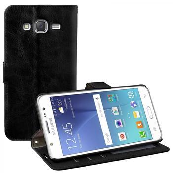 eFabrik Bookstyle Case für Samsung Galaxy J5 Schutz Cover Handy Zubehör Tasche Kunstleder schwarz