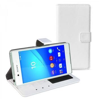 eFabrik Case für Sony Xperia Z3+ Hülle weiß ( Xperia Z3 plus ) Handy Tasche Kunstleder
