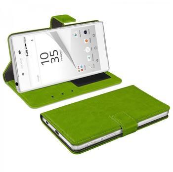 eFabrik Tasche für Sony Xperia Z5 Schutzhülle grün Hülle mit Aufsteller Innenfächer Bookstyle Design Case Kunstleder