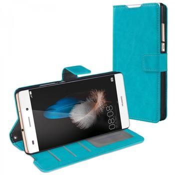 eFabrik Schutzhülle Huawei P8 lite Tasche türkis Aufsteller, Innenfächer, Magnetverschluss Handy Case Smartphone Zubehör Kunstleder