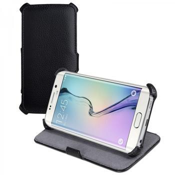 eFabrik Ultra Slim Case für Samsung Galaxy S6 Edge Schutzhülle Tasche mit Aufstellfunktion aus Kunstleder in Schwarz
