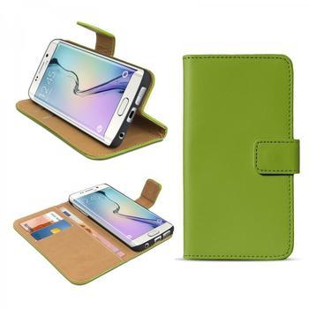 eFabrik Cover Samsung Galaxy S6 Edge Case Handy m. Aufsteller Innenfächer Leder Grün