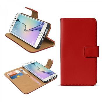 eFabrik Hülle für Samsung Galaxy S6 Edge Case Handy Zubehör mit Aufsteller Innenfächer Leder Rot
